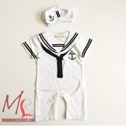 Sailor Costume Romper Set T (White)